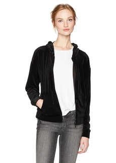 GUESS Women's Long Sleeve Jude Zip up Velvet Hoodie