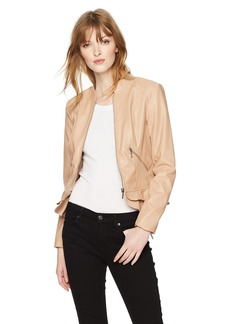 GUESS Women's Long Sleeve Kate Flirty Pu Jacket  L