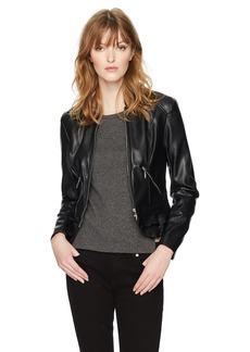 Guess Women's Long Sleeve Kate Flirty Pu Jacket  M