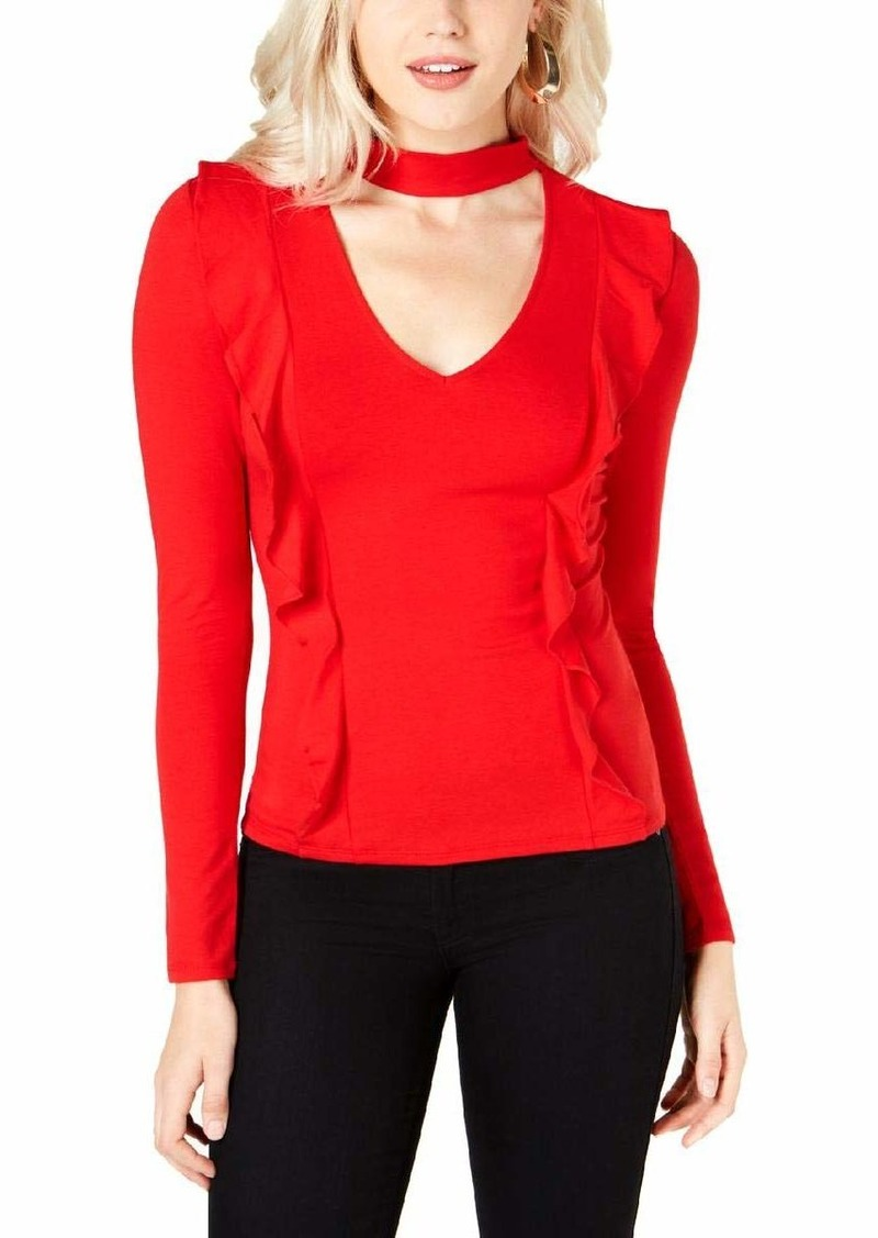 Guess Women's Long Sleeve Koloa Ruffle Top Scarlett red M