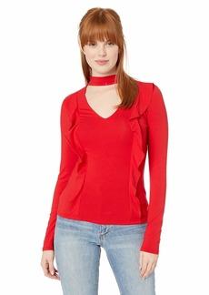Guess Women's Long Sleeve Koloa Ruffle Top Scarlett red XS