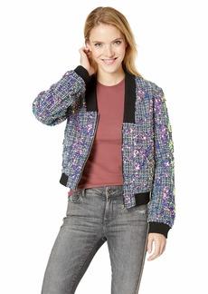 GUESS Women's Long Sleeve Krystal Jacket deep Ink Multi XS