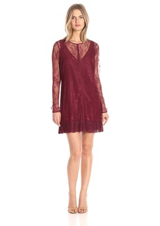 Guess Women's Long Sleeve Laurie Lace Overlay Dress  XS