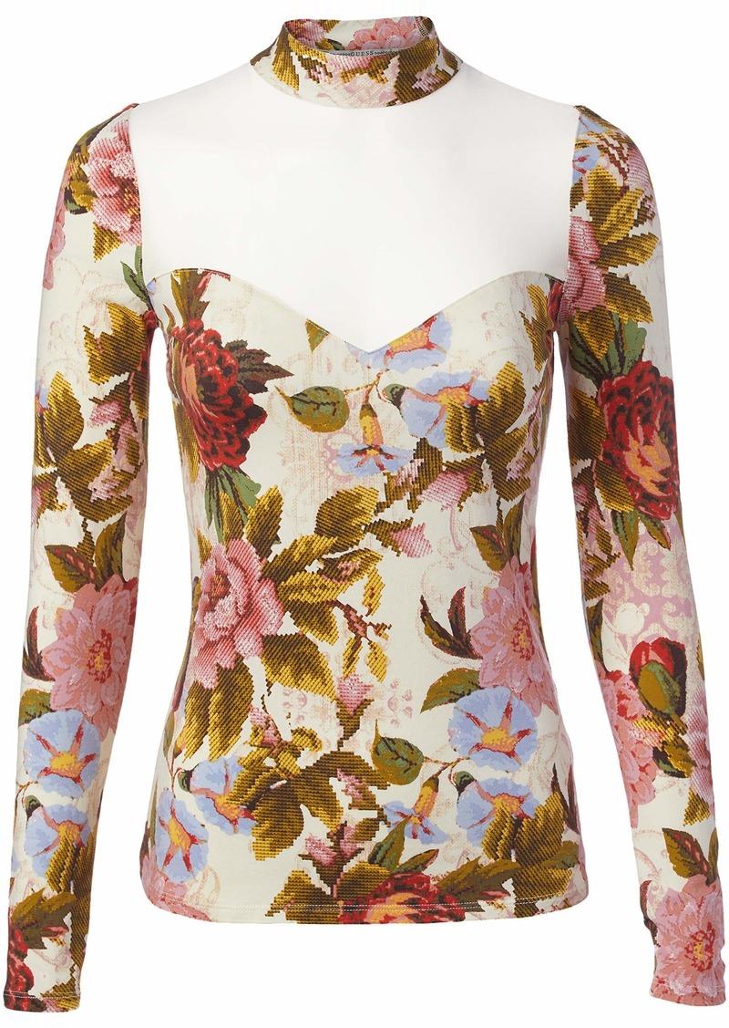 GUESS Women's Long Sleeve Lilou MESH Inset TOP  M