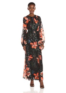 GUESS Women's Long Sleeve Lisbeth Floral Print Maxi Shirt Dress  XS