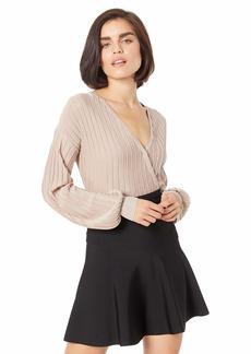 GUESS Women's Long Sleeve Lurex Surplice Sweater  M