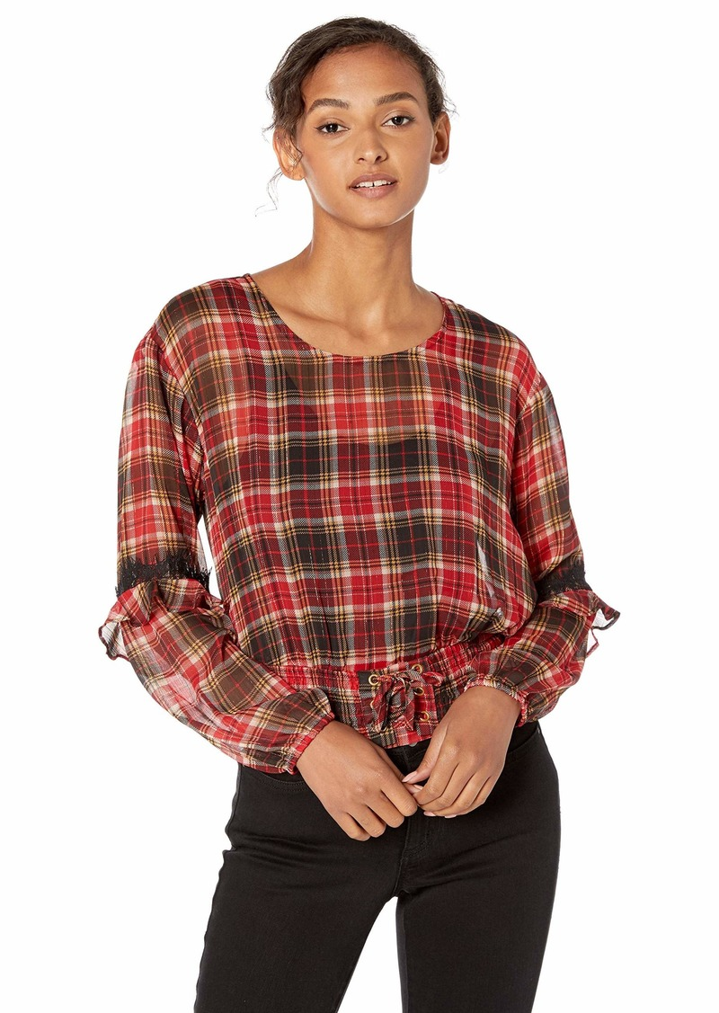 GUESS Women's Long Sleeve Madrid Lace Up Waist Top Madison Plaid Sultry red/Multi XL