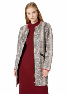 GUESS Women's Long Sleeve Marcia Faux Snake Skin Coat Stone/Sultry red S