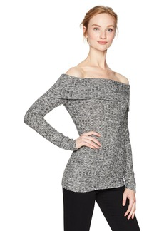 GUESS Women's Long Sleeve Marina Off The Shoulder Top Heather  Charcoal Multi