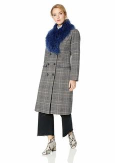 GUESS Women's Long Sleeve Nieve Plaid Coat  L