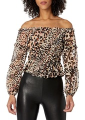 GUESS Women's Long Sleeve Off The Shoulder Simi Top  Extra Small