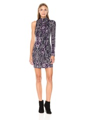 GUESS Women's Long Sleeve One Shoulder Hope Dress Tempest lace Navy