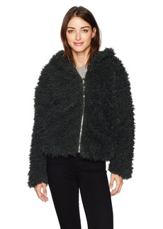 GUESS Women's Long Sleeve Os After Party Fur Hoodie deep Forest