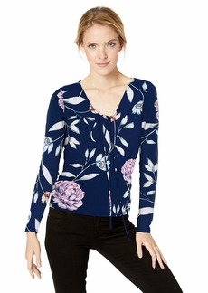 GUESS Women's Long Sleeve Pearl Top Cosmic Floral deep Ink XS