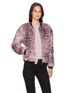 GUESS Women's Long Sleeve Penny Fur Bomber Jacket