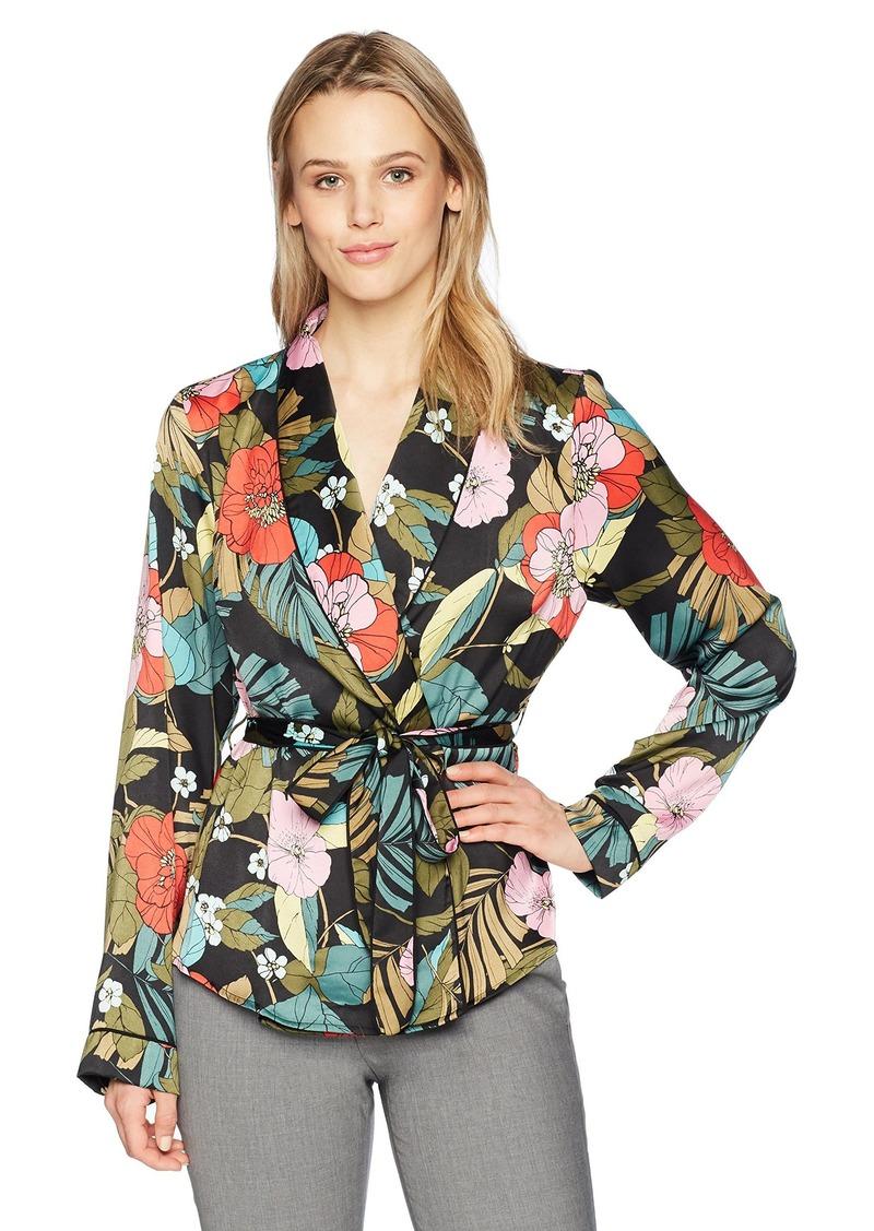 GUESS Women's Long Sleeve Pj Wrap Top  XS