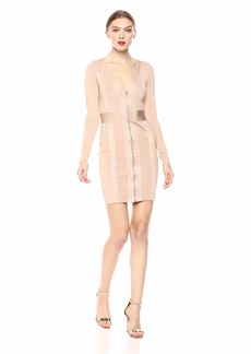 GUESS Women's Long Sleeve Plunging V Neck Mirage Dress nu Nude Multi L