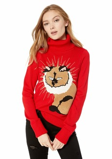 GUESS Women's Long Sleeve Princess Cat Intarsia Sweater Scarlett red XS