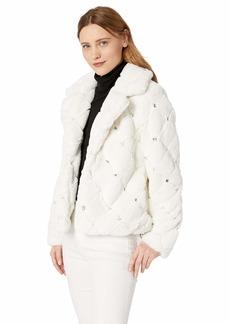 Guess Women's Long Sleeve Queen Embellished Faux Fur Coat  XL