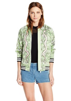 GUESS Women's Long Sleeve Reese Bomber Jacket Snake in The Garden Scuffy L