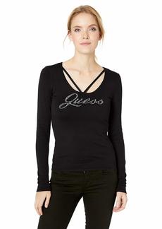 GUESS Women's Long Sleeve Rhinestone Logo Holly Sweater  M