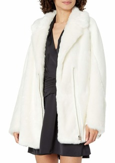 GUESS Women's Long Sleeve Rory Faux Fur Jacket  Extra Large