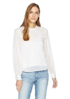 GUESS Women's Long Sleeve Sage Embroidered Top  L