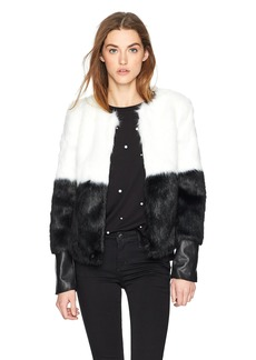 GUESS Women's Long Sleeve Sammi Faux Fur Jacket  M