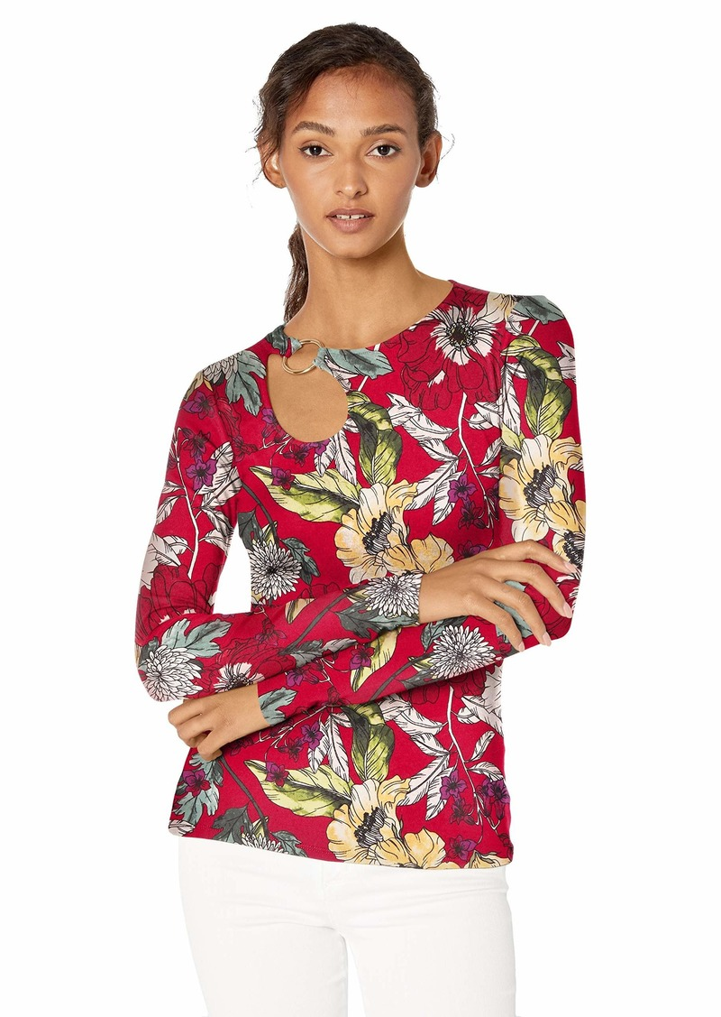 GUESS Women's Long Sleeve Sean Ring Top Garden Fever Print Sultry red L