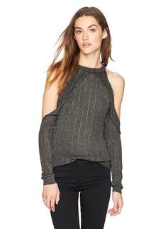 GUESS Women's Long Sleeve Sera Lurex Cold Shoulder Sweater  M