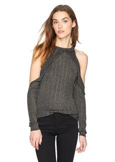 GUESS Women's Long Sleeve Sera Lurex Cold Shoulder Sweater  XS
