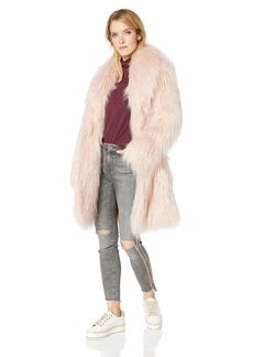 GUESS Women's Long Sleeve Serenity Fur Coat  XS