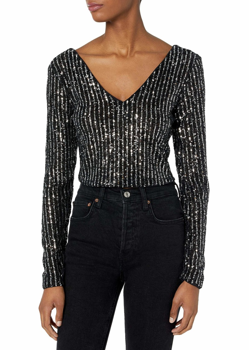 GUESS Women's Long Sleeve Star Sequin Crop Top  Extra Large