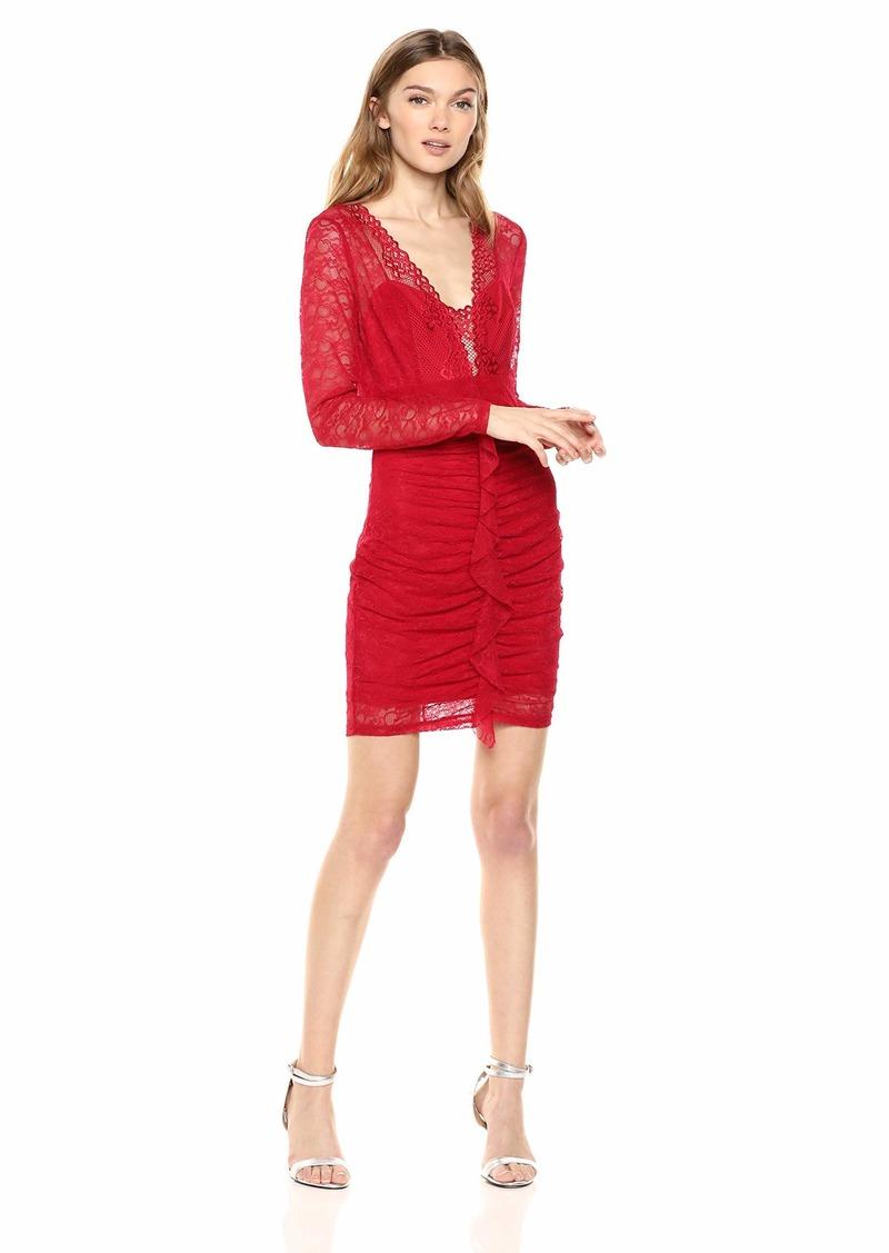 GUESS Women's Long Sleeve TAILA Dress Crimson red L