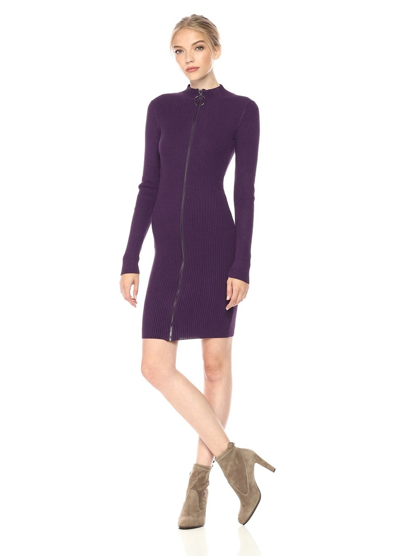 GUESS Women's Long Sleeve Teagan Cut Out Mock Neck Sweater Dress BlackBerry Cordial