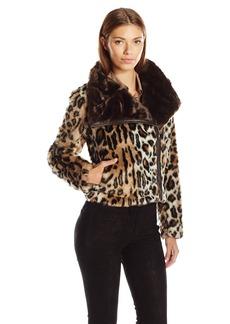 Guess Women's Long Sleeve Tifanny Faux Fur Jacket  L