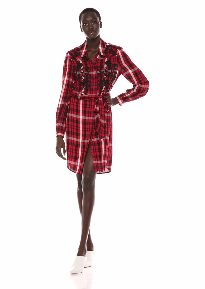 GUESS Women's Long Sleeve Tora Shirt Dress Sultry red/Multi M