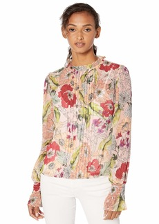 GUESS Women's Long Sleeve Tyler Pleated Top Garden Fever Print Rose dust L