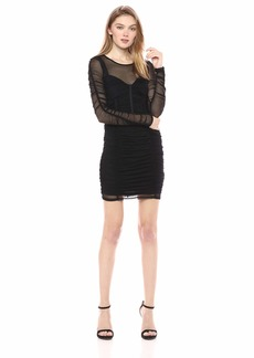 GUESS Women's Long Sleeve Veronica Ruched Dress  a L