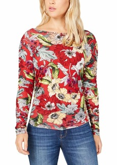 Guess Women's Long Sleeve Zion Ruched Top Garden Fever Print Sultry red XL