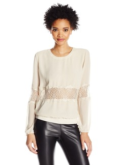 GUESS Women's Long Ssleeve Ash Lace Top  XS