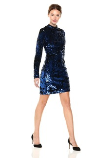 GUESS Women's Lorinda Sequin Dress Blue Combo M