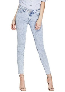 GUESS Women's Low Rise Skinny Jean with Raw Hem Light wash