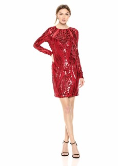 GUESS Women's LS Averill Dress Crimson red/Multi M