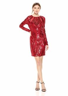 GUESS Women's LS Averill Dress Crimson red/Multi XS