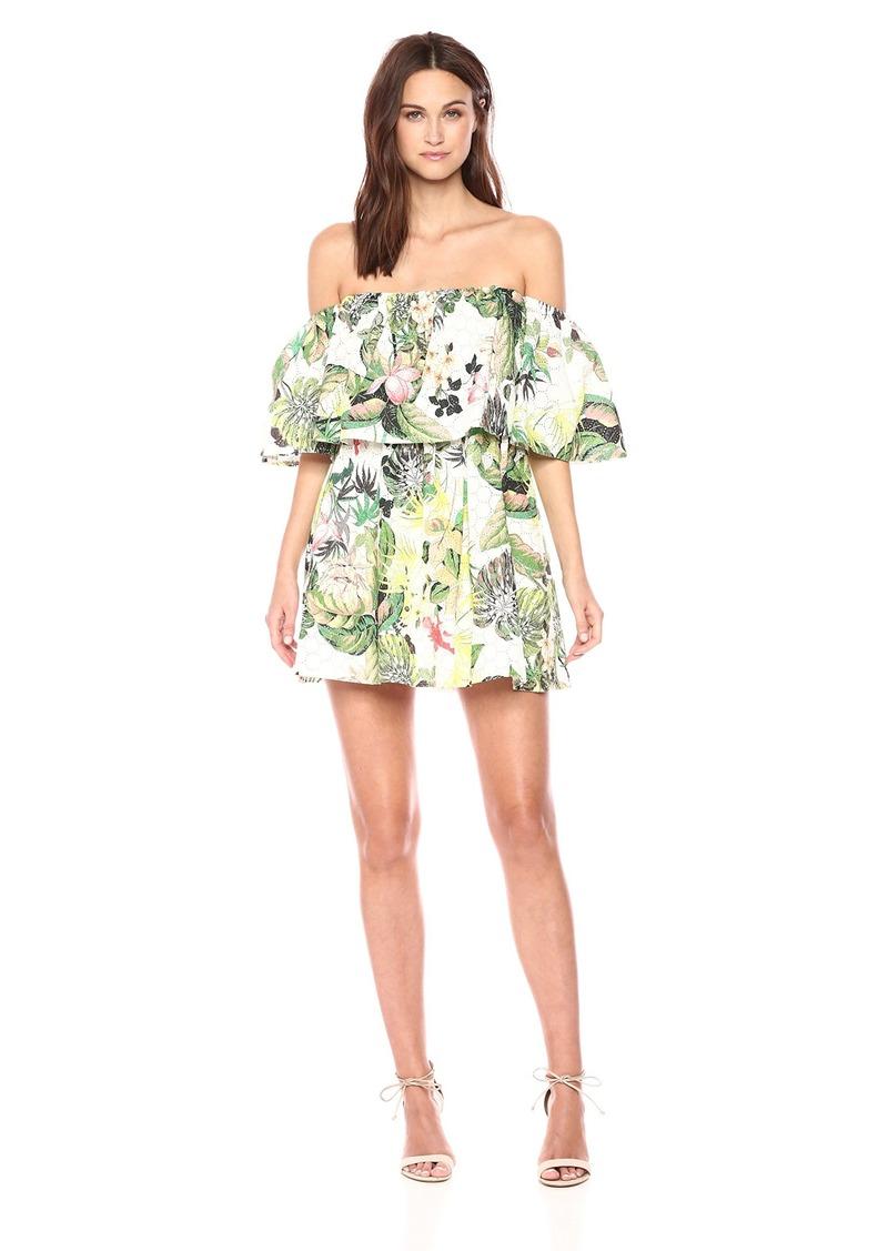 GUESS Women's Lucienne Dress Fleur DE LIS White Combo S