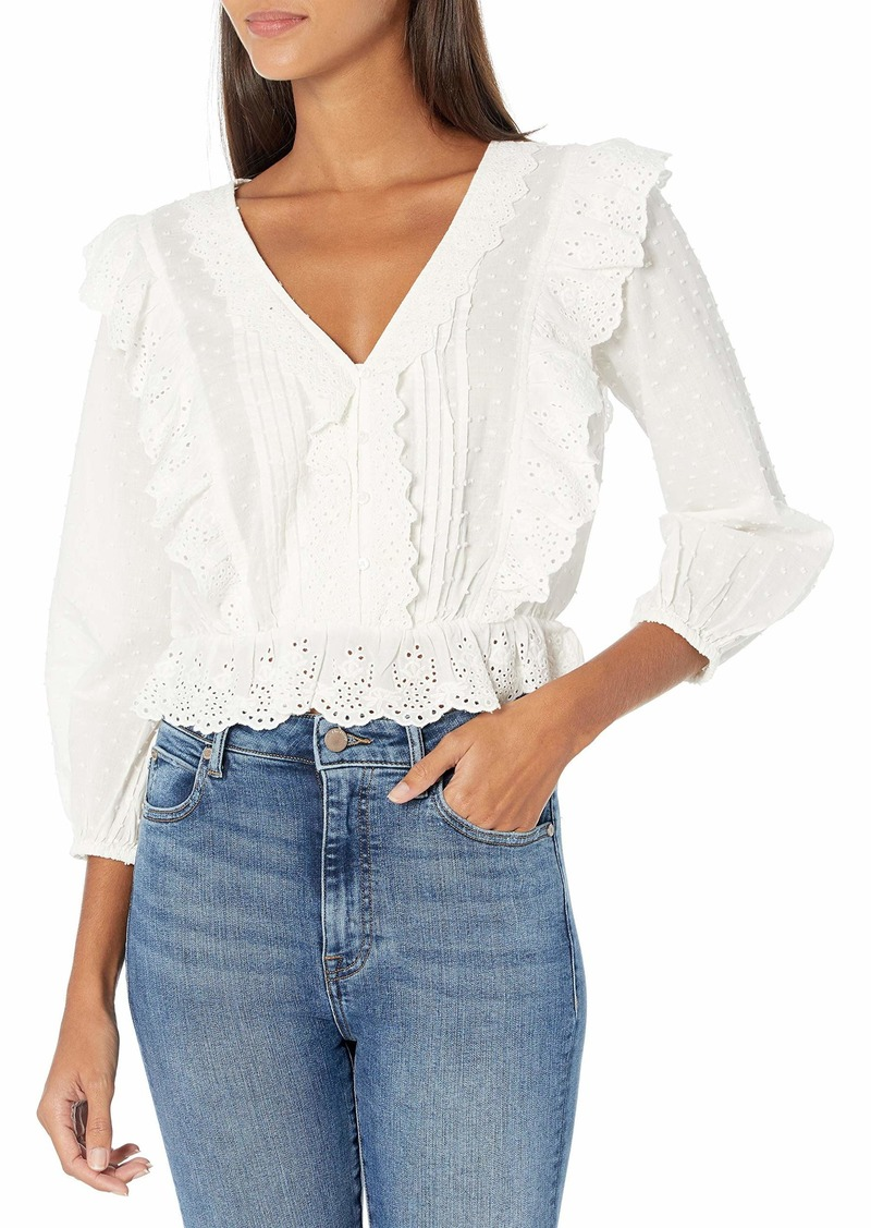 GUESS Women's Lumi 3/4 Sleeve Eyelet Trim Top  Extra Large
