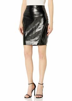 GUESS Women's Maleka Embossed Pu Faux Leather Midi Skirt