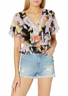 GUESS Women's Maritza Flutter Short Sleeve Top