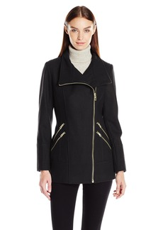 GUESS Women's Melton Wool Asymmetrical Zip Coat black M